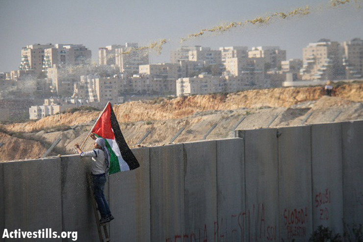 A demonstrator waves a Palestinian flag as he looks over the wall  during the weekly protest against the wall and the occupation in the West Bank village of Bil'in, January 4, 2012. The weekly demo was marking the second anniversary of the martyrdom of Jawaher Abu-Rahma, who died after she was injured from tear gas during the Friday demo in the village. (Photo by: Guest photographer Hamde Abu Rahma/ Activestills.org)