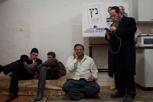 Extreme-right activist Itamar Ben-Gvir at the Otzme LeYisrael party office following election day, 23 January 2013 (photo: Tali Mayer)