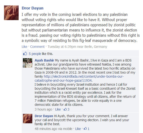 Israelis give their votes to Palestinians in Facebook campaign