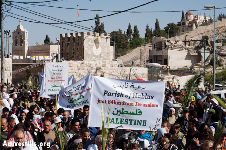 "The procession begins at the Church of Bethphage on the Mount of Olives, also known as the ""Palm Sunday Church"", which is located directly next to a Palestinian home that was demolished by Israeli authorities several years ago."