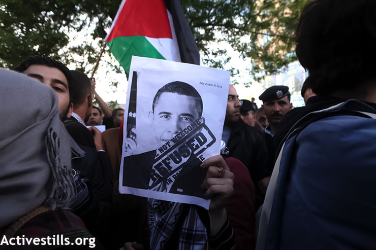 Hundreds of Palestinians demonstrate against the planned visit of U.S. President Barack Obama to the West Bank, Ramallah, March 19, 2013. (Photo by: Anne Paq/Activestills.org)