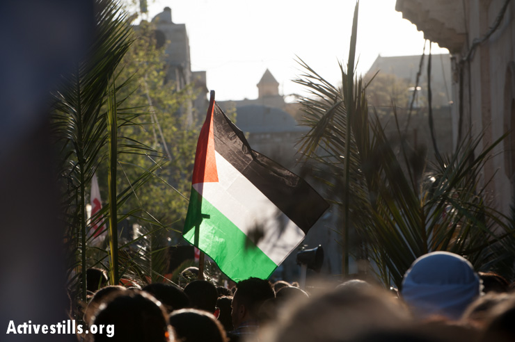 A Palestinian flag waves among palm branches entering the Old City of Jerusalem at the end of the Palm Sunday procession.