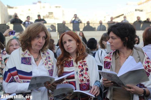 Women of the Wall chairwoman Anat Hoffman, MK Stav Shafir (Labor), MK Tamar Zandberg (Meretz) (left to right) at the Western Wall, March 12, 2013 (Oren Ziv/Activestills.org)