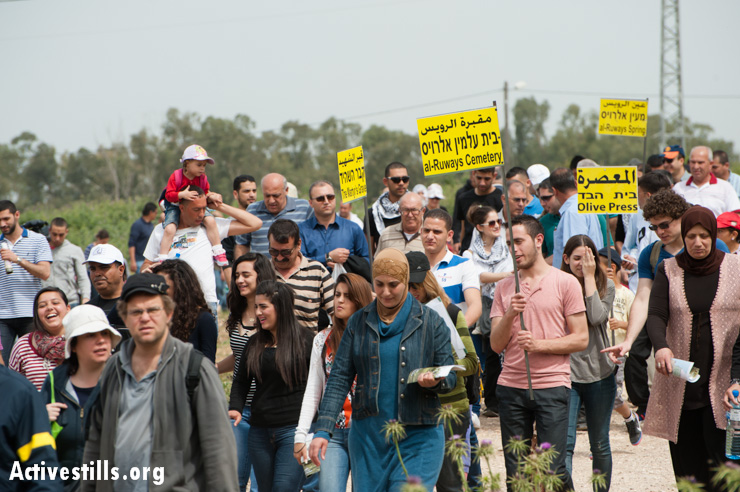 Palestinian citizens of Israel, joined by Jewish Israelis organized by the activist group Zochrot, return to the destroyed village of al-Ruways, March 30, 2013. All structures in Al-Ruways were destroyed and the original residents forcibly displaced to nearby Tamra by Jewish militias in the Nakba in 1948.