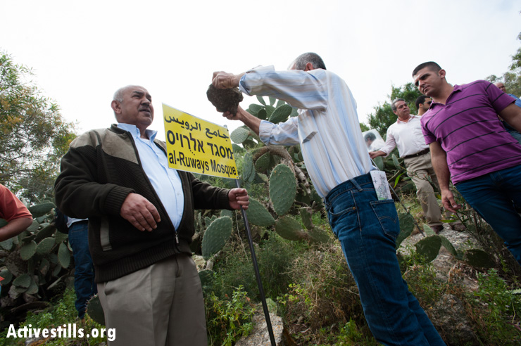Palestinian Israelis mark the site of the mosque in Al-Ruways near a patch of saber cactus, itself a symbol of Palestinian steadfastness.
