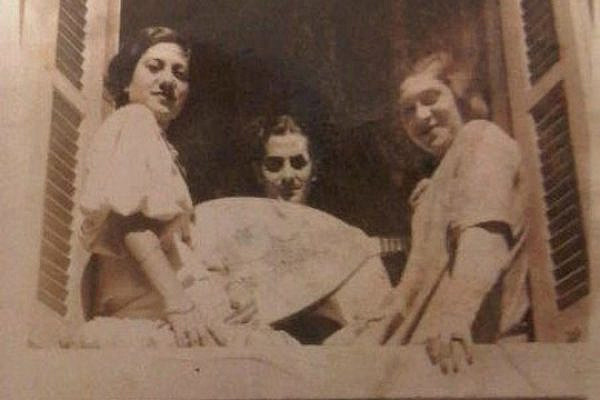 Left to right: My grandmother, Becky Mamron (who was called Rubio at the time), with Farid al Atrash and her sister, Leoni. Alexandria, sometime in the mid-late 1930s.