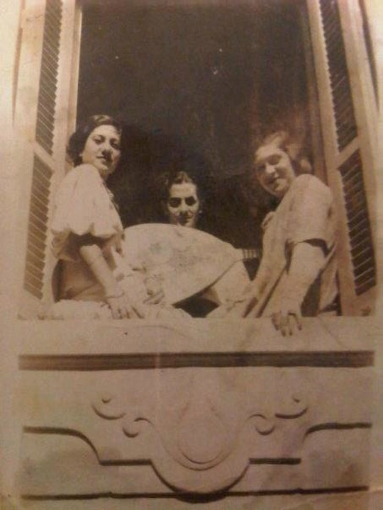 From the left: My grandmother Becky Memran (formerly Rouvio), with Farid al-Atrash, and her sister Léonie. Alexandria, sometime in the mid-late thirties.