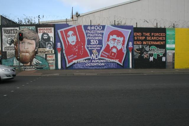 Solidarity with Palestinian prisoners Khader Adnan and Hana Shalabi on Republican walls (Haggai Matar)