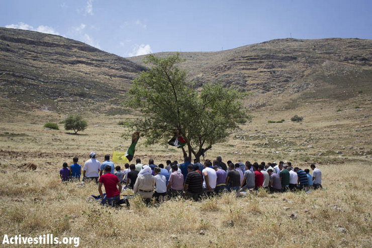 Palestinians from the West Bank village of Azmut, near Nablus, pray on their lands to protest against the continuing land seizure by the neighboring settlers of Alon Moreh, May 10, 2013. The illegal Israeli settlement of Elon More has been all built on lands stolen from the village. The protest took place in an area which Palestinians could not reach in the past years, as settlers are in the process of taking over the agriculture lands of the village. (Photo by: Oren Ziv/ Activestills.org)
