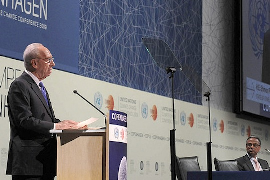 President Peres at the UN Climate Change Conference, Copenhagen. (Photo: GPO)
