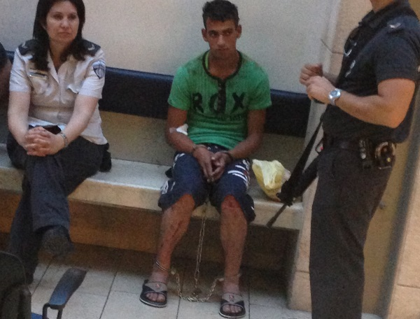 Abed Al-Rahem Awad, 19, from Budrus, being held in an Israeli hospital following his arrest by IDF soldiers. May 27 2013