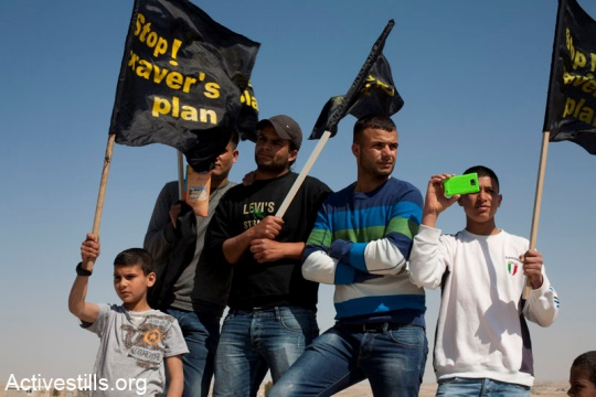 A Bedouin protest against the implementation of the Prawer Plan for the unrecognized villages, March 2012 (photo: Activestills.com)