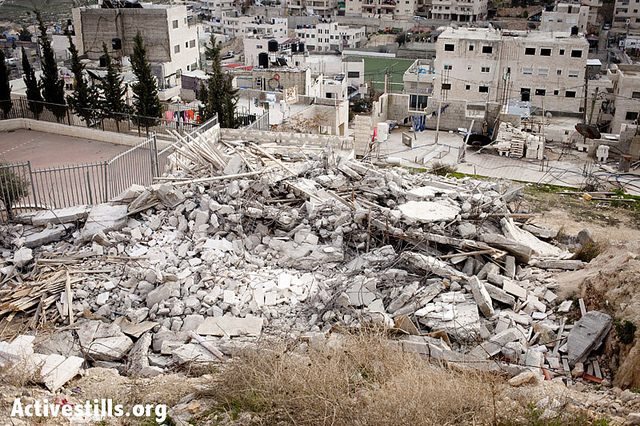 The State of Israel demolished the house of Rafat Issawi, in order to pressure his brother Samer, who went on hunger strike, Issawiya, East Jerusalem, Jan 4 2013, (photo: Activestills/Shiraz Grinbaum)