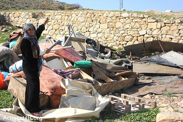 The State of Israel demolished 70 structures and left an unknown number of people homeless, Jan 172013, Hamam el-Maleh, Jordan Valley, (photo: Activestills/Ahmed el-Bazz)
