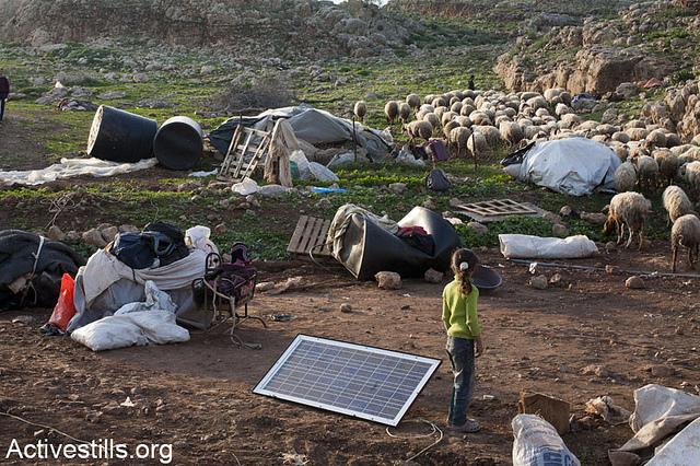 The State of Israel demolished 55 structures, leaving 187 people homeless, El-Maita, Jordan Valley Jan 20 2013, (photo: Activestills/Keren Manor)