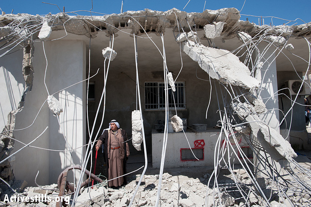 The State of Israel demolished parts of the Jaradat family house, a-Tur, East Jerusalem, Apr 24 2013 (photo: Ryan Rodrick Beiler/Activestills)