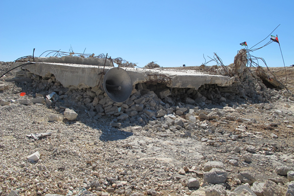 June 26, 2013 – The mosque in the village of Mufaqara, south of Hebron, an area within the military-designated Firing Zone 918, was demolished by the IDF in 2011. (photo: Matt Surrusco, +972 Magazine)