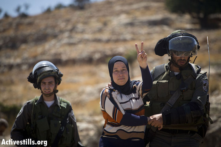 Israeli border policemen arrest Nariman Tamimi during the weekly protest against the Israeli occupation, in the West Bank village of Nabi Saleh, June 28, 2013. (Oren Ziv/ Actviestills.org)