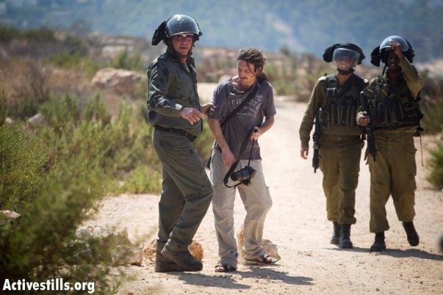 One Israeli activists was arrested as the soldiers progressed towards the village (Oren Ziv / Activestills)