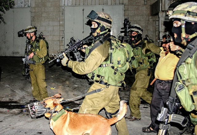 """""""Night Raid"""", from the times when soldiers would go on nightly invasion to Bil'in to arrest activists (Hamde Abu Rahma, from the book)"""