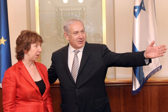 EU foreign policy chief Catherine Ashton with PM Benjamin Netanyahu (Photo: GPO/Avi Ohayun)
