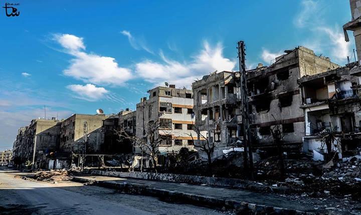 Destruction due to shelling in Douma, a town under siege northeast of Damascus. (photo: Adasa Sham)