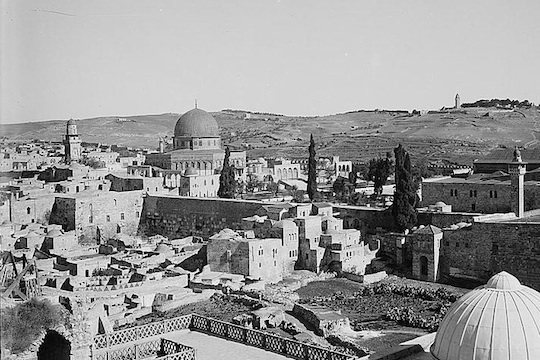 The Mughrabi Quarter, Wailing Wall and Haram al-Sharif/Temple Mount, 1898-1946 (American Colony Photo Dept.) The Mughrabi Quarter residential neighborhood was demolished immediately following the Six Day War in order to make room for the Western Wall prayer plaza.