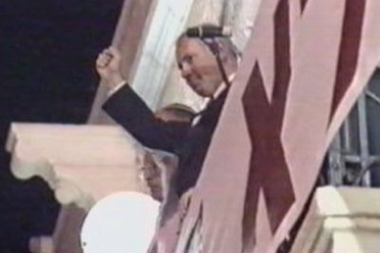 "Benjamin Netanyahu speaks at the infamous ""Rabin the Traitor"" rally in Jerusalem, October 1995. (Screenshot)"