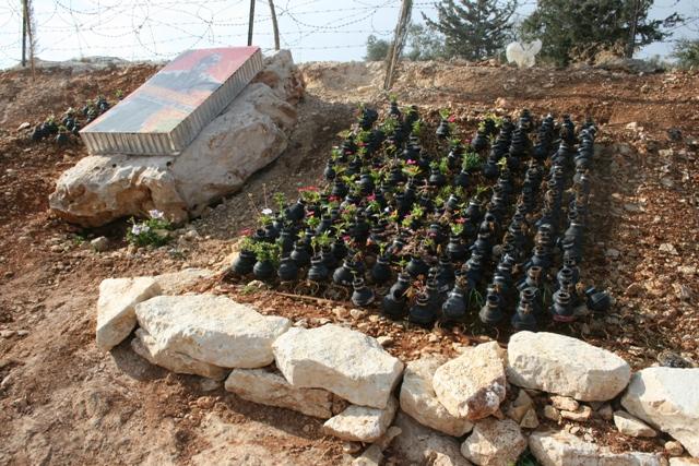 Part of the Bassem Abu-Rahme memorial tear gas canister garden (Haggai Matar)