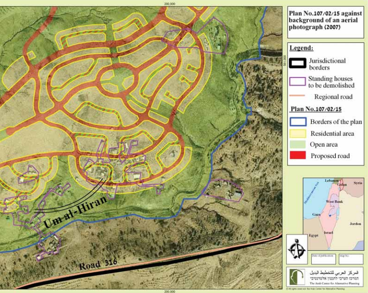 The master plan for Hiran, presented atop an aerial view of Umm al-Hiran (The Arab Center for Alternative Planning)
