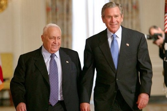 Israeli Prime Minister Ariel Sharon with U.S. President George W. Bush at the White House, April 14, 2004. (White House Photo)