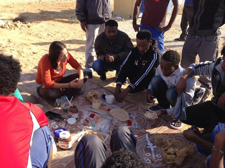 Asylum seekers and visitors picnic outside the Holot 'open prison.' (photo: Ayla Peggy Adler)