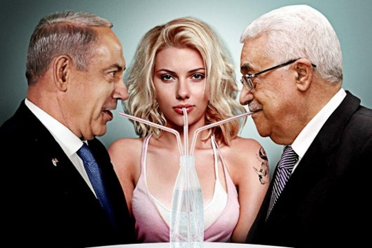 Scarlett Johansson, Netanyah and Abbas (Photo: The Israel Project)