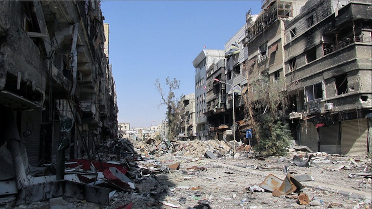 'Yarmouk is devastated throughout, with street storefronts and houses suffering the brunt of the physical damage.' (Photo by UNRWA)