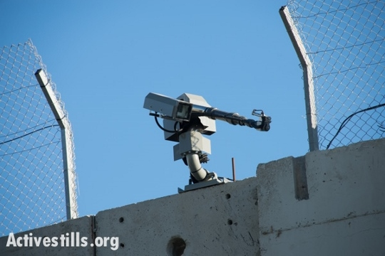 The new camera-equipped weapon installed on the separation wall in Bethlehem. (photo: Activestills.org)