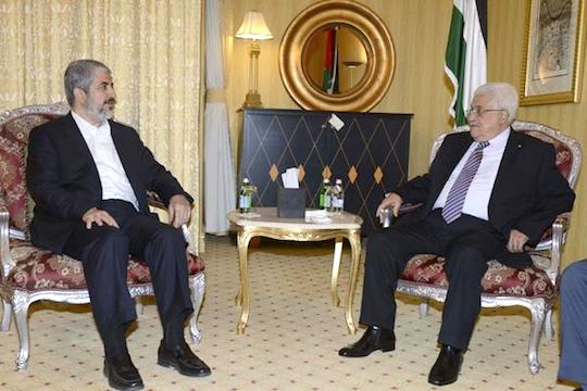 File photo of Hamas leader Khaled Meshaal meets with Palestinian President Mahmoud Abbas (Photo: PPO/Thaer Ghanaim – Handout)