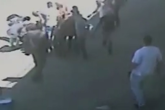 A still shot from CCTV footage of the deadly shooting of a Palestinian youth in Beitunia, May 15 2014.