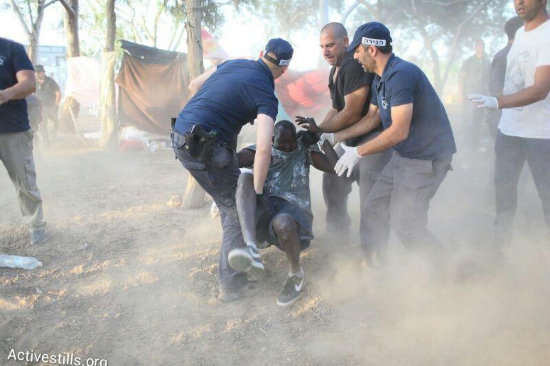 Police arrest asylum seekers who left Holot near the Nitzana border crossing with Egypt, June 29, 2014. (Photo by Oren Ziv/Activestills.org)