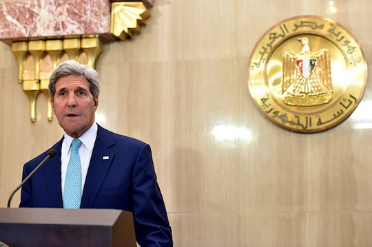 U.S. Secretary of State John Kerry addresses reporters at the Presidential Palace in Cairo, Egypt, on July 22, 2014, amid a series of discussions with Egyptian leaders focused on creating a cease-fire for fighting between Israel and Hamas in the Gaza Strip. (State Department photo/ Public Domain)
