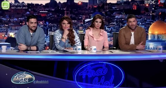 The Arab Idol judges. (Screenshot from Arab Idol, MBC)