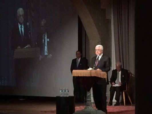 Palestinian President Mahmoud Abbas addresses students at the Great Hall of The Cooper Union, New York City, September 22, 2014. (photo: Abraham Gutman)
