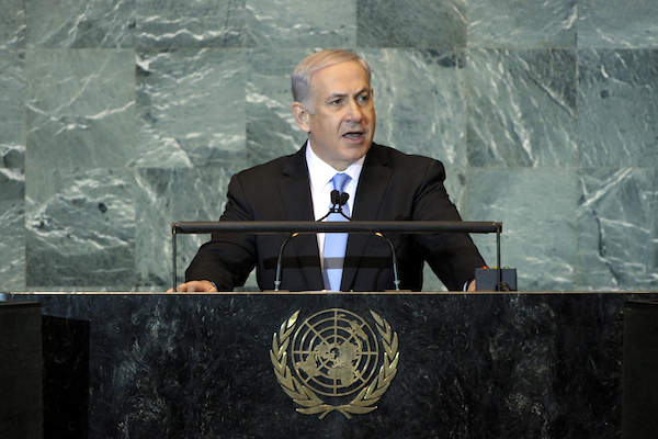 Israeli Prime Minister Benjamin Netanyahu addresses the UNGA plenary, September 23, 2011. (Photo by UN/Marco Castro)