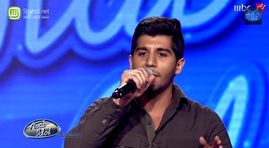 Haitham Khalailah's first audition (Screenshot from Arab Idol, MBC)