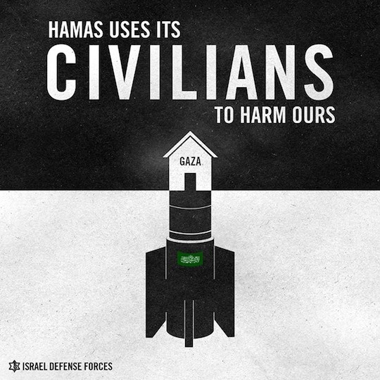 """An IDF Spokesperson infographic published on its Facebook page with the caption: """"Hamas has no regard for human life""""."""