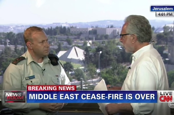 Illustrative photo of IDF Spokesperson Lt.-Col. Peter Lerner speaking to Wolf Blitzer on CNN during the 2014 Gaza war, Operation Protective Edge. (Screenshot)