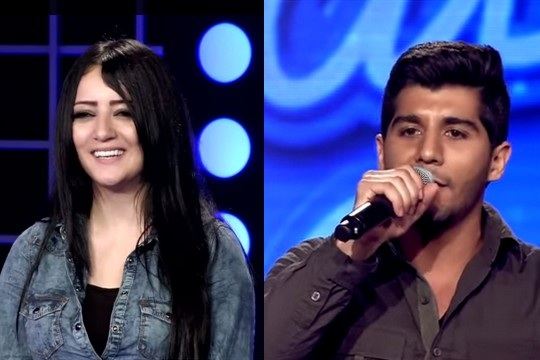 '48 Palestinian Arab Idol contestants Manal Moussa and Haitham Khalailah. (Screenshots from Arab Idol, MBC)