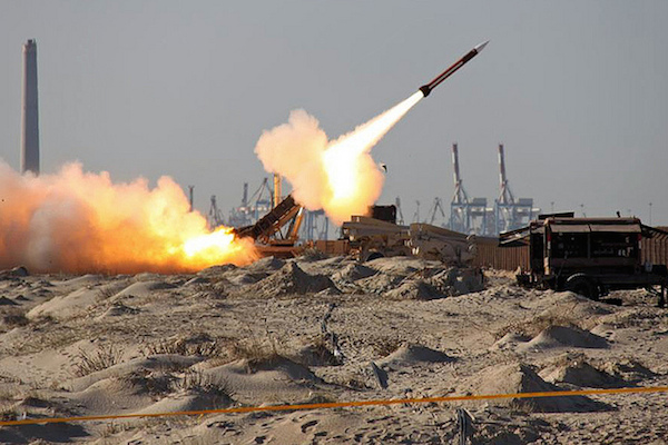 A Patriot missile is launched during a test. (File photo by IAF)