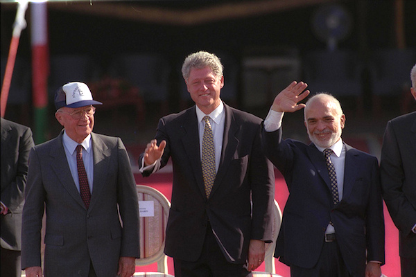 Prime Minister Yitzhak Rabin, US President Bill Clinton and King Hussein of Jordan depart after the Israel-Jordan peace treaty signing ceremony in the Arava, October 26, 1994. (Photo by GPO/Avi Ohayon)