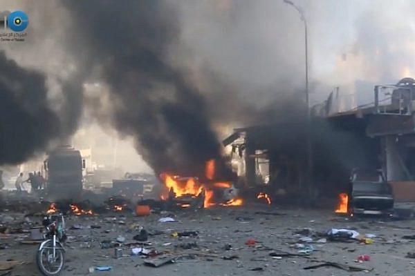 Raqqa following a Syrian air force bombing, September 6, 2014. (Screenshot)