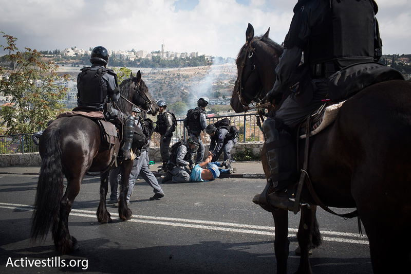 Mounted Israeli police arrest demonstrators who were protesting the lack of access for Muslim worshipers to the Aqsa Mosque compound, October 15, 2014. (Photo by Oren Ziv/Activestills.org)